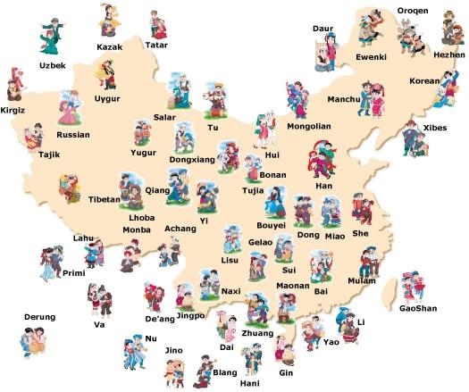 Mapa de grupos étnicos de China